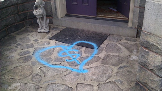 This enigmatic symbol appeared on Jeanne Bridgforth's Museum District porch. - JEANNE BRIDGFORTH