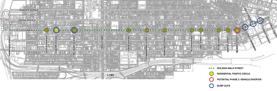 This map details the intersections impacted by the proposed changes to Floyd Avenue in the Fan and Museum District.