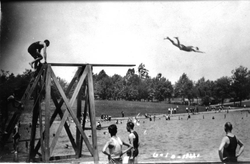 This picture of divers on the high board at Shields Lake in Byrd Park is one of many photos Stilson took periodically throughout the year at the popular park near his home on Grayland Avenue. The lake was closed to swimming in 1955. - COPYRIGHT RICHMOND IN SIGHT