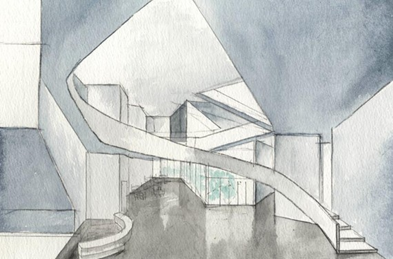This watercolor and graphite drawing by Steven Holl shows the Institute for Contemporary Art's bright entry space.