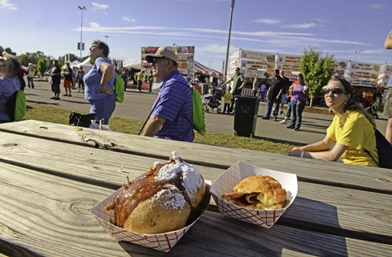 This year's State Fair offerings inclue the Twinx, a Twinky that's been stuffed with a Twix bar and then wrapped in bacon before being batter-dipped and deep-fried, and a deep-fried ham biscuit.