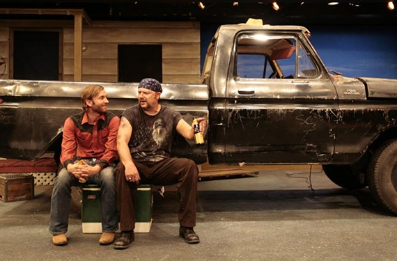 "Two guys and a truck: Roy (Matthew Mitchell) and Jim (David Bridgewater) talk man-to-man in ""Nice People Dancing to Good Country Music."" - JAY PAUL"