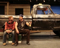 """Two guys and a truck: Roy (Matthew Mitchell) and Jim (David Bridgewater) talk man-to-man in """"Nice People Dancing to Good Country Music."""""""