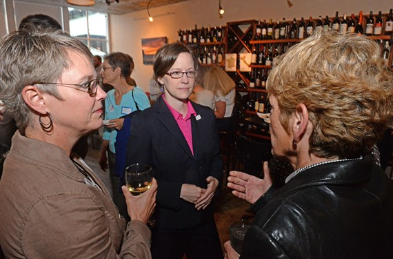 """Candidate Emily Francis meets with supporters at C'est Le Vin in Shockoe Bottom. She says she's """"the only true progressive in the race."""" - SCOTT ELMQUIST"""