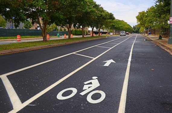This summer, the city installed this bike lane heading west on West Leigh Street near the Washington Redskins training camp.