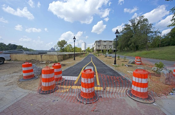 This stretch of asphalt near Rocketts Landing is a final link of the Virginia Capital Trail, a new 52-mile, designated pedestrian and cycling path connecting downtown with points east.
