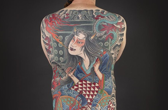 "Ink work by the Japanese artist Horitomo was part of the museum's ""Japanese Tattoo: Perseverance, Art and Tradition,"" which ends Sept. 27. - KIP FULBECK"