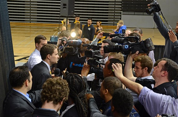 After the announcement of his hiring April 7, Wade answers questions from a horde of media. He replaced his friend, beloved coach Shaka Smart, who helped put VCU basketball on the national map. - SCOTT ELMQUIST