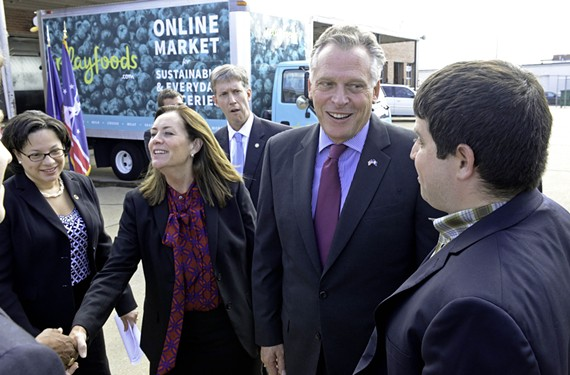 Dorothy and Terry McAuliffe visit Scott's Addition in 2014 to announce a grant from the Governor's Agriculture and Forestry Industries Development Fund. Delegate Jennifer McClellan, left, joins them. - SCOTT ELMQUIST