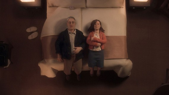 From the mind of Charlie Kauffman: Two puppet salespeople realize the absurdity of life.