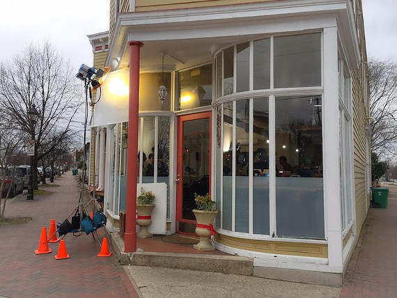 Film crews were set up at Sub Rosa Bakery in Church Hill on Monday.