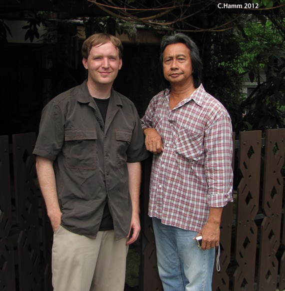 "Local DJ and music collector Carl Hamm stands with the legendary Malaysian ""Pop Yeh Yeh"" musician Adnan Othman. - CARL HAMM"