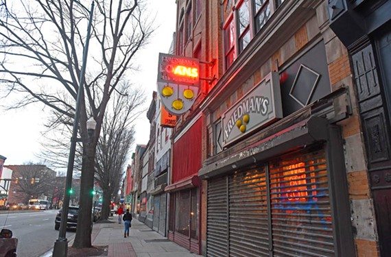 Freidman's Loan Office, in the 100 block of East Broad, has been a family-owned business on the corridor for 70 years. It's surrounded by empty storefronts, inset, which owner John Goodman says keeps needed foot traffic away. - SCOTT ELMQUIST
