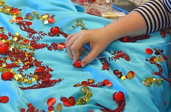 A detail of Shelby Rider's dress, coral reef. - SCOTT ELMQUIST