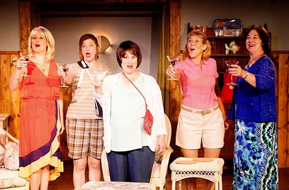 "From a 2014 Swift Creek production of ""Dixie Swim Club"": (From left)  Georgia Rogers Farmer as Lexie, Jennifer Frank as Vernadette, Jacqueline Jones as Jeri Neal, Joy Williams as Sheree, and Jody Stricker as Dinah."