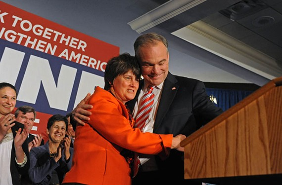 Kaine's wife, Anne Holton, congratulates the senator-elect after his 2012 victory. - SCOTT ELMQUIST