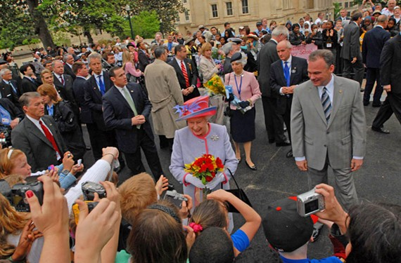 Queen Elizabeth II is shown around Capitol Square by then-Gov. Tim Kaine during her state visit that came through Richmond on May 3, 2007. - SCOTT ELMQUIST