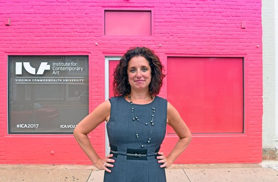 Director Lisa Freiman stands outside the institute's temporary offices on West Broad Street. - SCOTT ELMQUIST