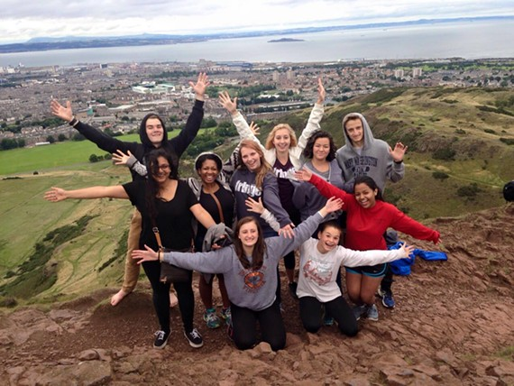 Last year's J. R. Tucker High School participants at the top of Sir Arthur's Seat in Edinburgh.