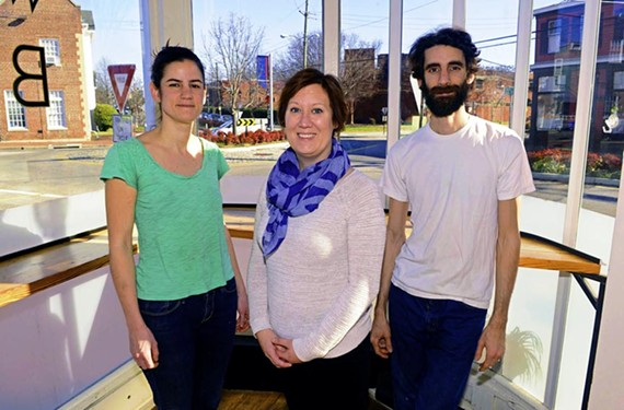 Church Hill dining pioneers include Kendra Feather of the Roosevelt, center, with SubRosa Bakery's sibling team Evin and Evrim Dogu. - SCOTT ELMQUIST