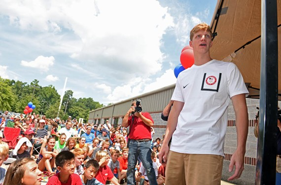 In a return visito Nova of Virginia Aquatics where Haas trained, he greets swimmers and their families Aug. 19. He was one of nine swimmers the West End aquatics center sent to the Olympic trials. - SCOTT ELMQUIST