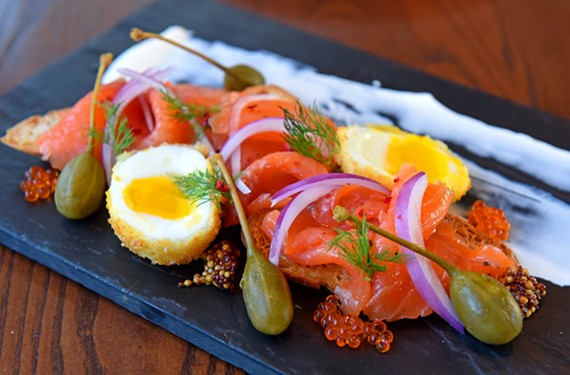 Art on a plate: smoked salmon and deep-fried egg appetizer at East Coast Provisions. - SCOTT ELMQUIST