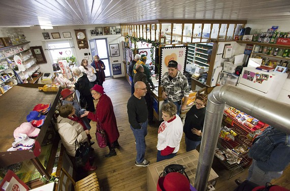 Wright's General Merchandise, where the post office is located, was busy last weekend with Red Hat Society ladies from South Hill, a motorcycle club from Williamsburg and others who made the trip to Valentines. - BILL TIERNAN