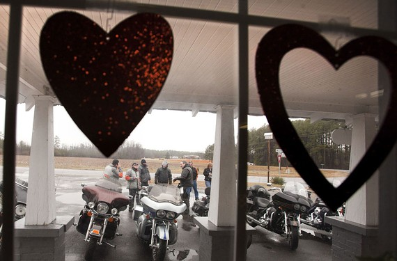 "The ""Gold Wing Road Riders, a motorcycle club in Williamsburg, made a trip to have their Valentines mailed from Valentines, Va. - BILL TIERNAN"