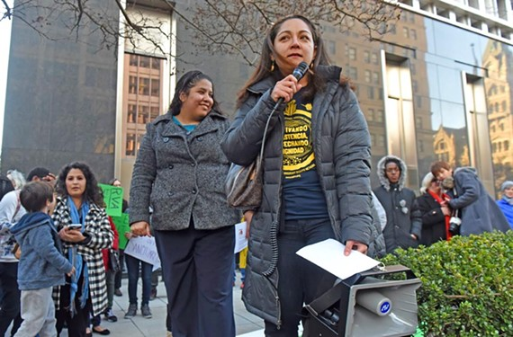 Community organizer and ICE out of RVA leader Carolina Valez speaks at a rally for sanctuary cities on Feb. 13. - SCOTT ELMQUIST