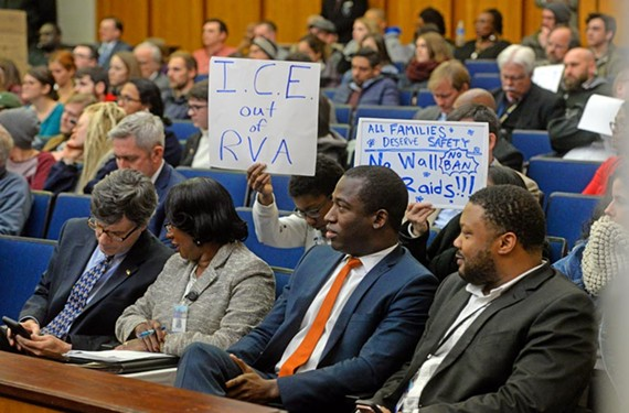 Mayor Levar Stoney at City Council on Feb. 13, where sanctuary city advocates rallied and spoke. - SCOTT ELMQUIST