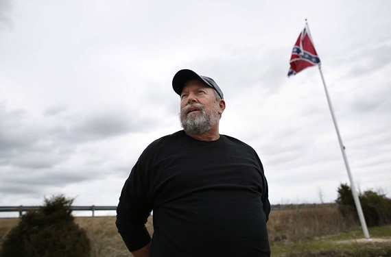 The Confederate flag sits on land leased from Stephen Etzell's wife and brother-in-law by The Virginia Flaggers. - STEPHEN M. KATZ