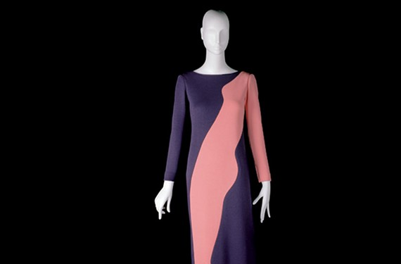 An homage to Tom Wesselmann, an evening gown featuring straight dress of purple wool jersey and pink wool jersey appliqué from fall and winter 1966. - ALEXANDRE GUIRKINGER
