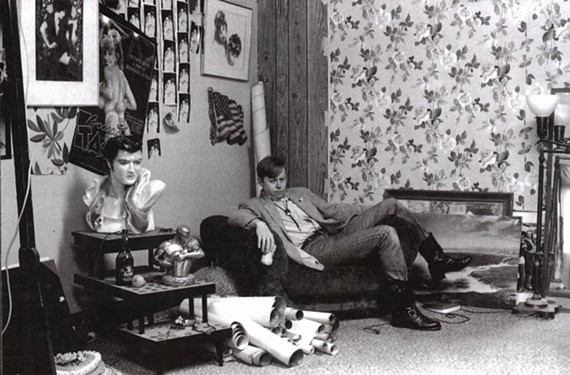 Johnson takes a break at the American Cheese offices in 1987. Curators hung master prints of his greeting cards in galleries and called him an heir to Andy Warhol.