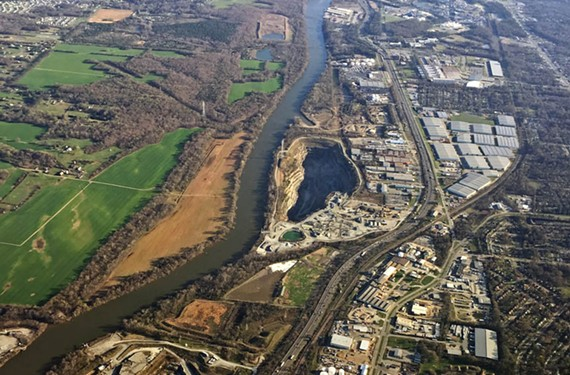 An aerial view of the James River as it runs along Interstate 95 in the South Richmond. Several quarries are visible. - SCOTT ELMQUIST