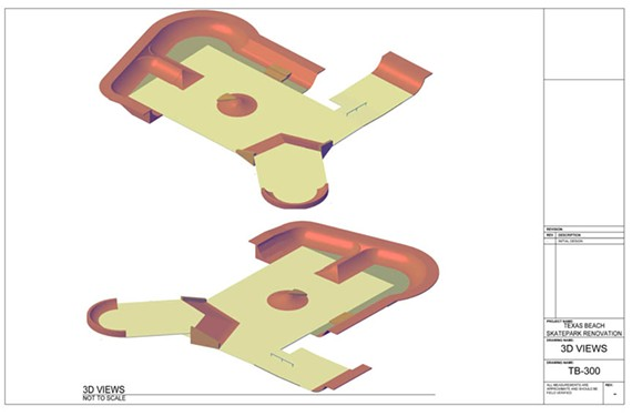 The approved rendering of Texas Beach Skate Park, which remains a work in progress.