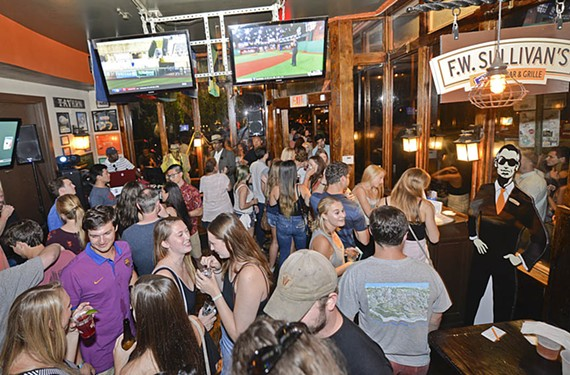 It's wall-to-wall people on a Saturday night at F.W. Sullivan's Fan Bar & Grille.