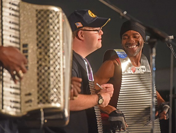 A happy moment from C.J. Chenier and the Louisiana Folk Band on Friday night at the Richmond Folk Festival 2017.