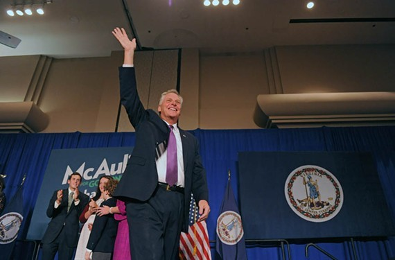Gov. Terry McAuliffe shown here at his victory party on Nov. 5, 2013 in Tysons Corner, Virginia. - SCOTT ELMQUIST