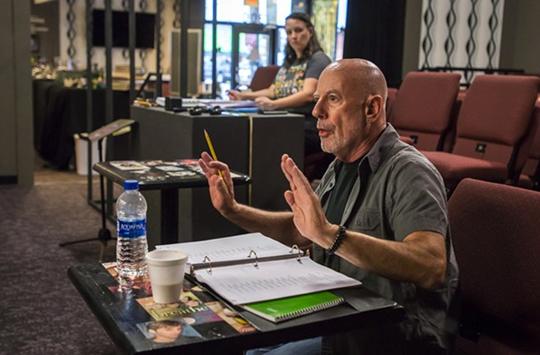 "Doug Schneider directs the cast of ""Sondheim on Sondheim."" - JOHN MACLELLAN"