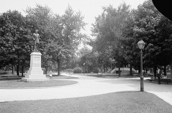 The statue of Richmond lawyer, Confederate general and Chesapeake and Ohio Railway president, Williams C. Wickham, is one of a number of monuments at park intersections, as seen in this photo from the early 20th century. - LIBRARY OF CONGRESS