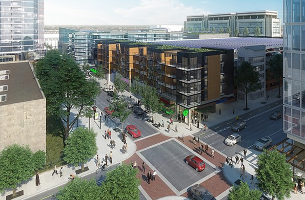 The plan includes an estimated 2,800 apartments, shown in a rendering of the intersection at Clay and Eighth streets. The mayor has said he negotiated for more affordable housing as an element of the plan. - CAPITAL CITY PARTNERS LLC