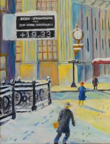 2008年威廉P。Schubmehl,以第一国民银行大楼和下雪后东大街和第九街的时钟为特色,来自私人收藏。