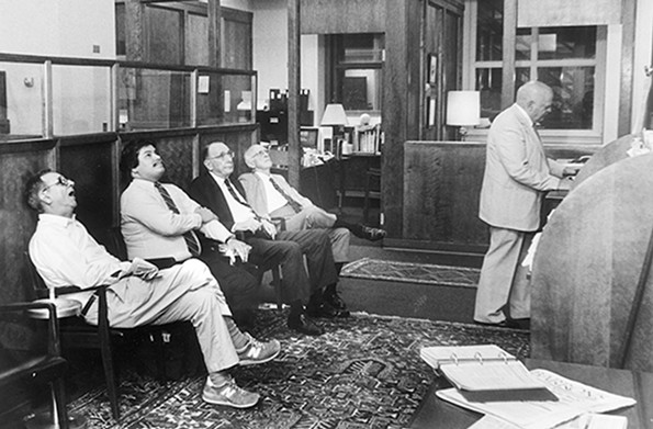 Customers watched the tape in the Scott & Stringfellow board room on Oct. 19, 1989.
