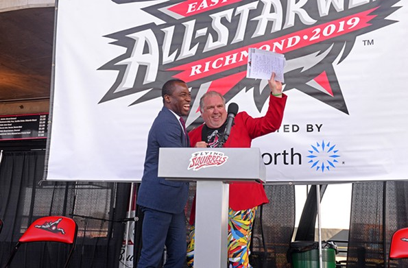 """Mayor Levar Stoney with Richmond Flying Squirrels' Vice-President and Chief Operating Officer Todd """"Parney"""" Parnell during a ceremony to announce that the Squirrels are playing host to the 2019 Eastern League All-Star Week in July. It will feature events including a country music jam at Richmond Raceway, celebrities and the all-star game. - SCOTT ELMQUIST"""