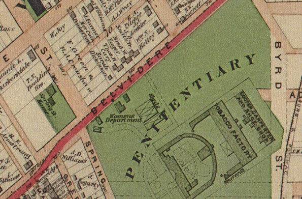 An 1875 map of the penitentiary.