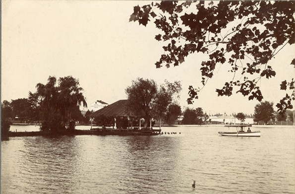 A casino is visible on the far left of this early 1900s photograph of Byrd Park. - THE VALENTINE