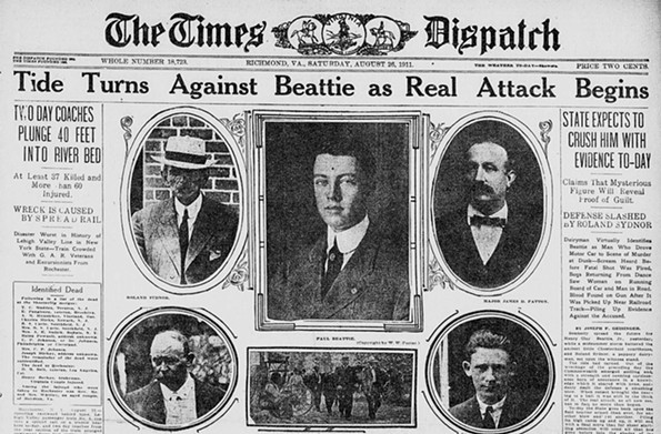 A Times Dispatch headline from Aug. 26, 1911 shows all the male players in the trial of the century.