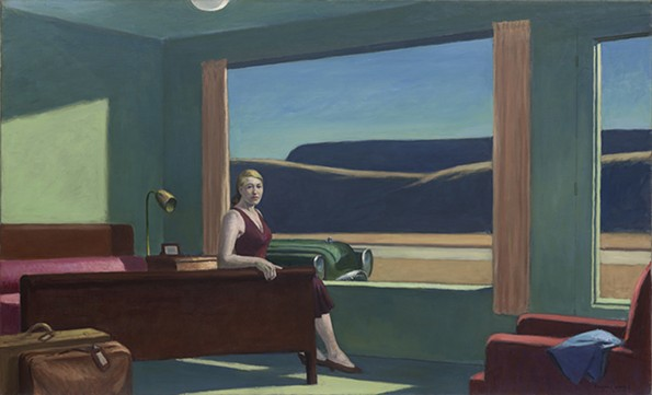 """Edward Hopper's painting """"Western Motel"""" (1957) shows a lone woman, modeled on the artist's wife, Josephine Hopper, sitting by an open window. - VIRGINIA MUSEUM OF FINE ARTS"""