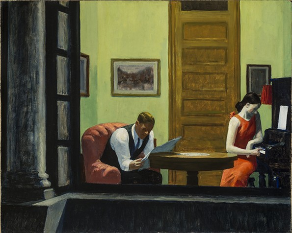 """""""Room in New York"""" (1932) was inspired by the lighted interiors in Washington Square, near where Hopper lived. - VIRGINIA MUSEUM OF FINE ARTS"""