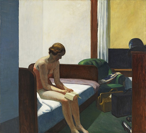 """Hotel Room"" (1931) is often associated with solitude. - VIRGINIA MUSEUM OF FINE ARTS"